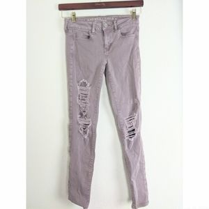 American Eagle Lilac Distressed Skinny Jeans